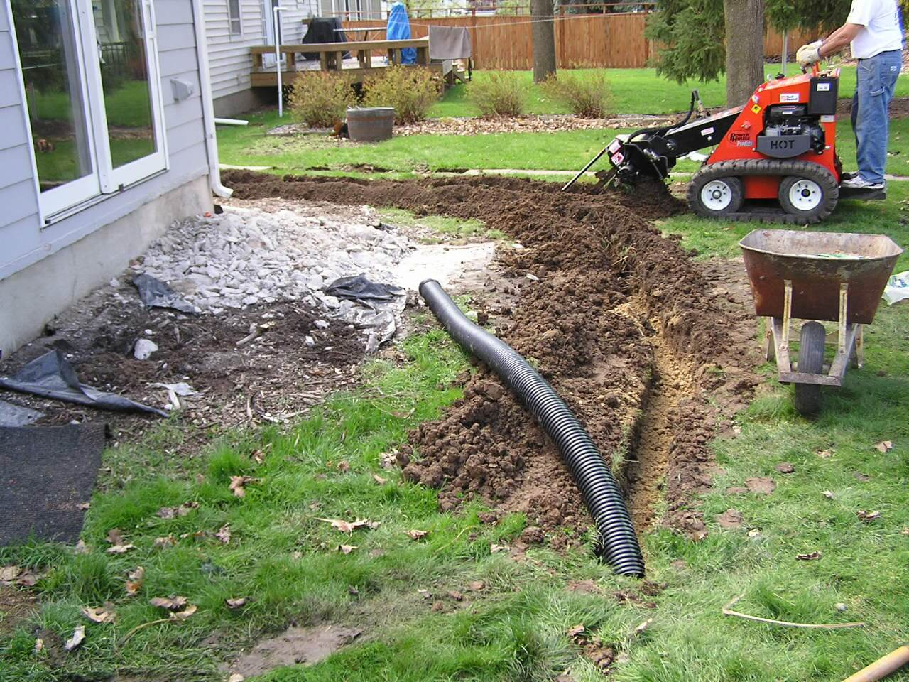 I Rented A Trenching Machine And Ending Up Burying About Seventy Five Feet  Of Corrugated Plastic Drain Tubing In My Yard, And Terminated The Tubing At  The ...