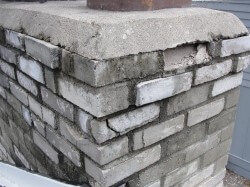 Disintegrating chimney bricks