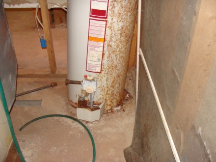 Collapsed water heater