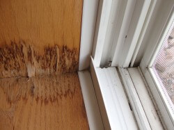 Water staining at window sill from major water leakage