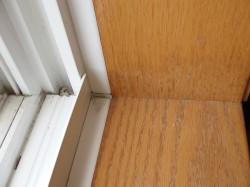 Water staining at window sill from minor leakage