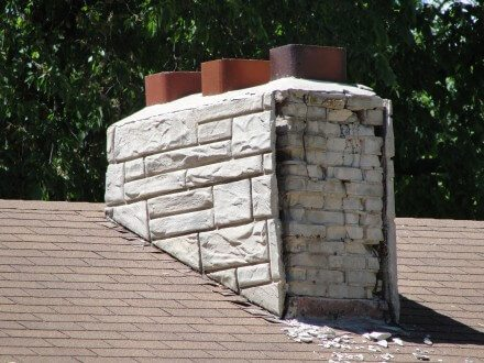 Chimney with facade falling apart