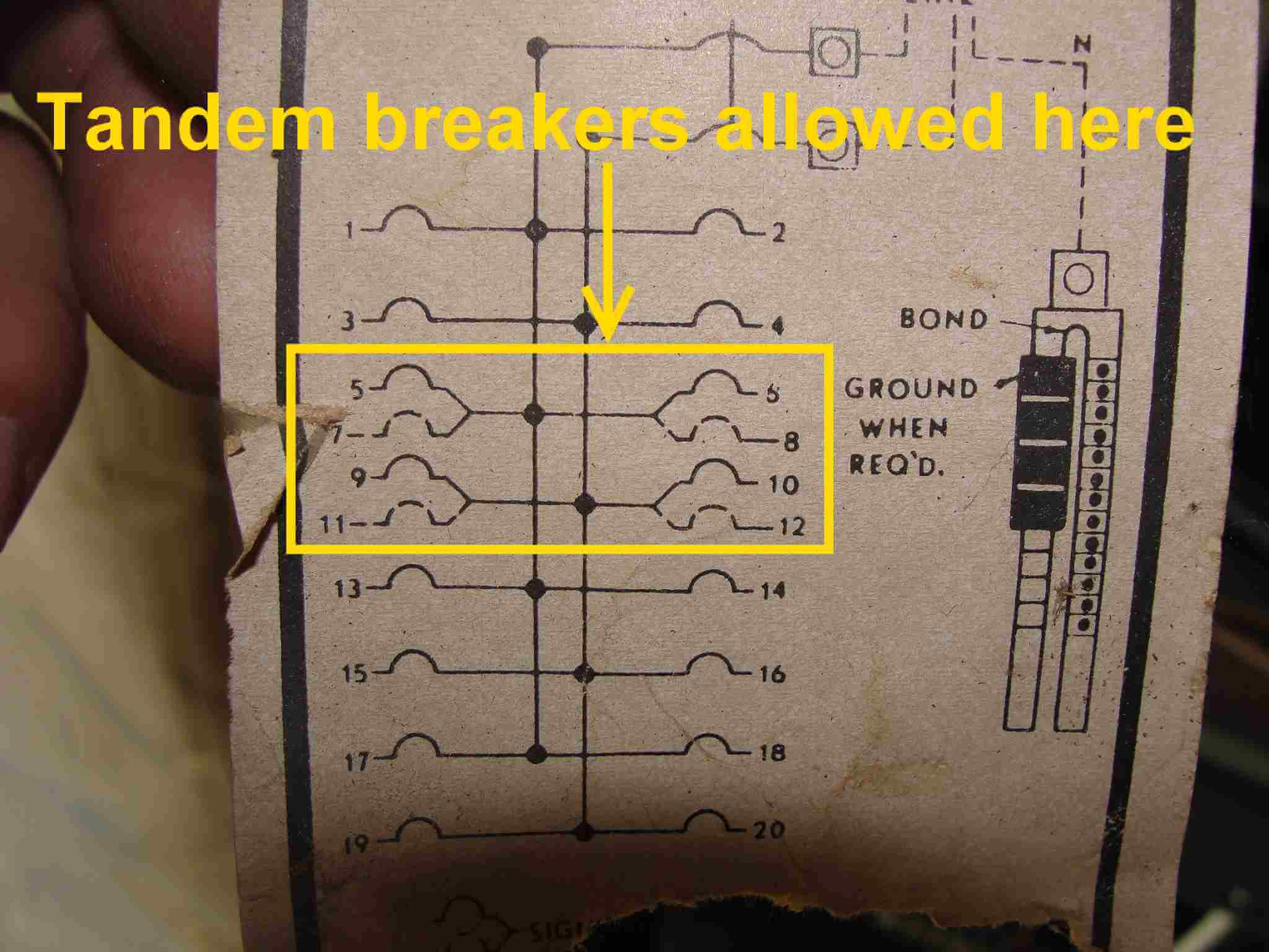 How to know when tandem circuit breakers can be used (aka - cheater Single Phase V Breaker Wiring Diagram on 3 phase breaker box diagram, 120 to 240v diagram, single phase compressor wiring diagram, single phase transformer wiring diagram, single phase generator wiring diagram,