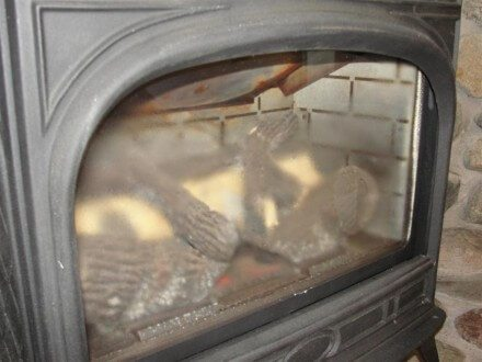 Condensation at glass on gas fireplace