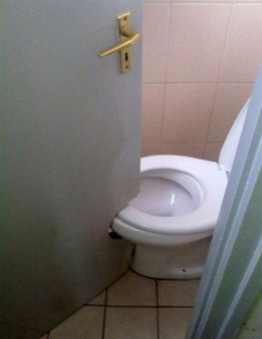 Door cutout for toilet