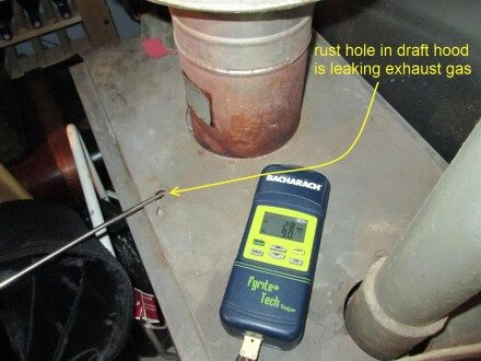 Exhaust gas leak at boiler