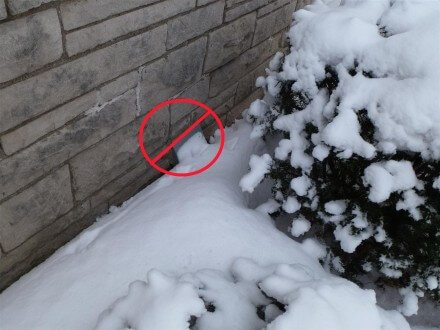 Combustion air inlet blocked with snow