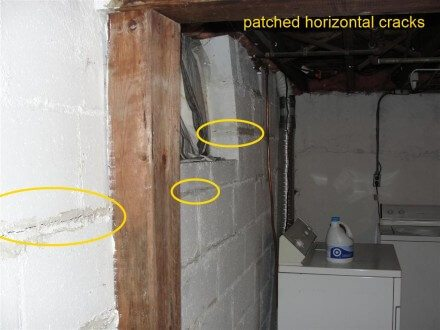 Patched horizontal cracks