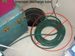 Improper discharge tube