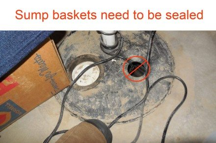 Sump basket not sealed