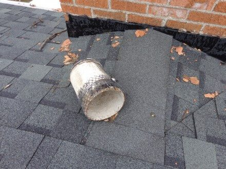 Damaged transite flue