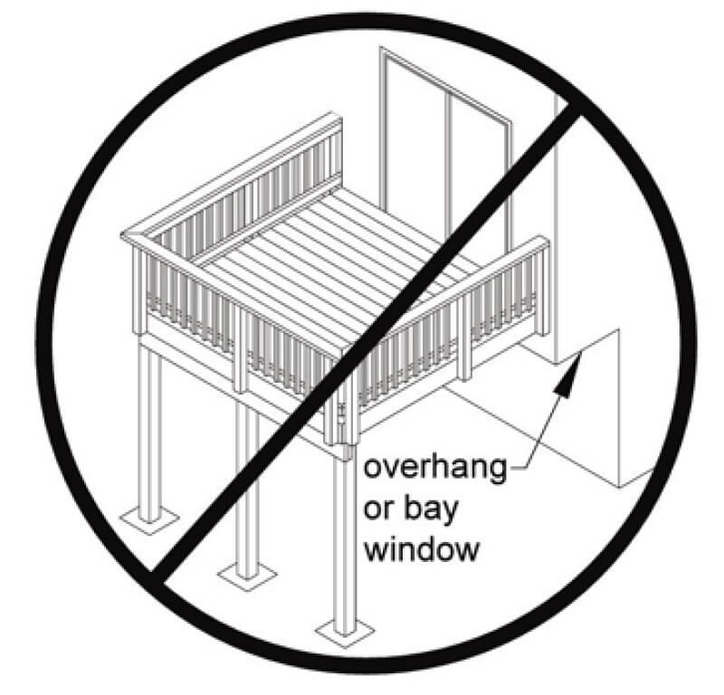 The problem with attaching a deck to a cantilevered floor for Balcony overhang