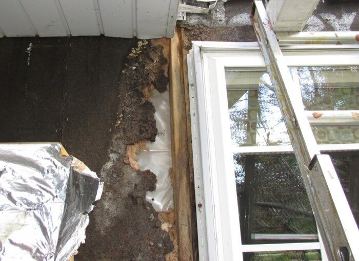 Water damage behind vinyl siding2