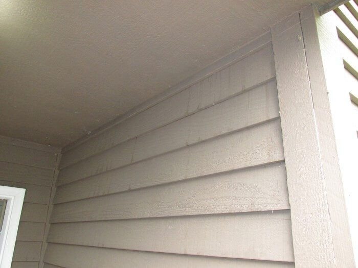 Stains on siding below soffit