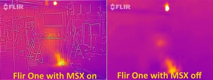 Flir One MSX on and off