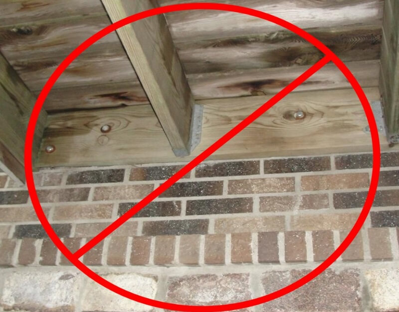 no decks attached to masonry
