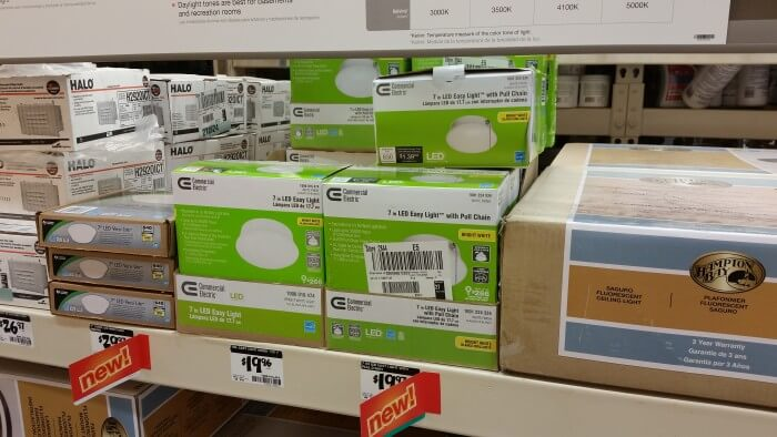 Easy Light on shelf at Home Depot
