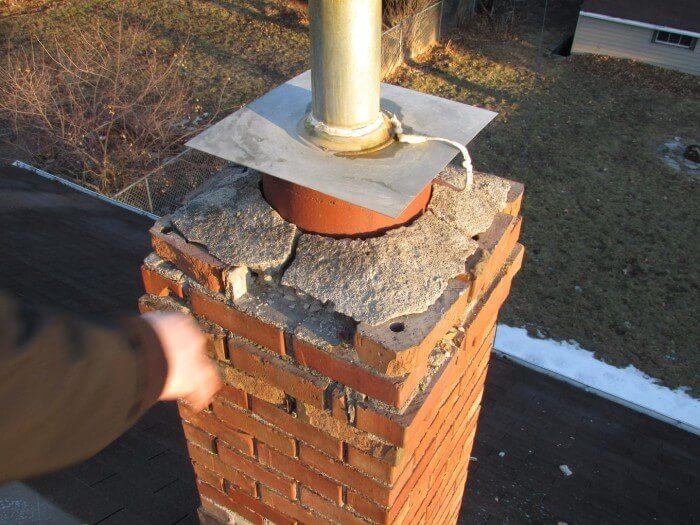 Metal cover at chimney 3