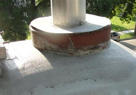 Metal cover at chimney