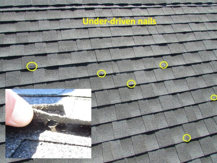 Roofing - under-driven nails