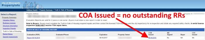 COA Issued
