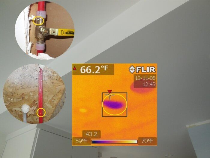 Plumbing - leak identified with IR camera