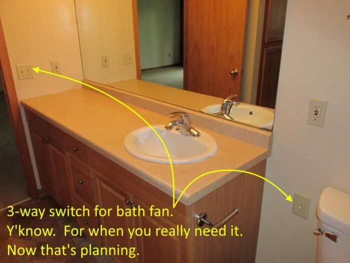 Bathroom fan 3-way switch