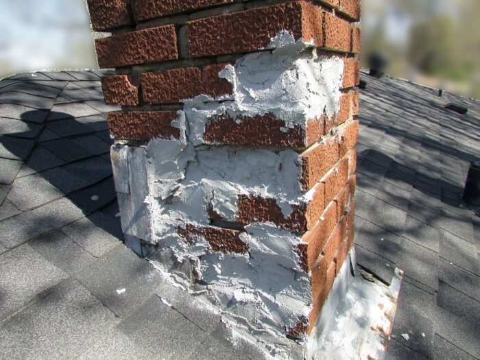 Mortar at chimney