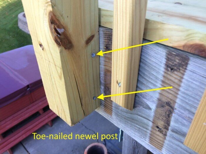 Toe-nailed newel post