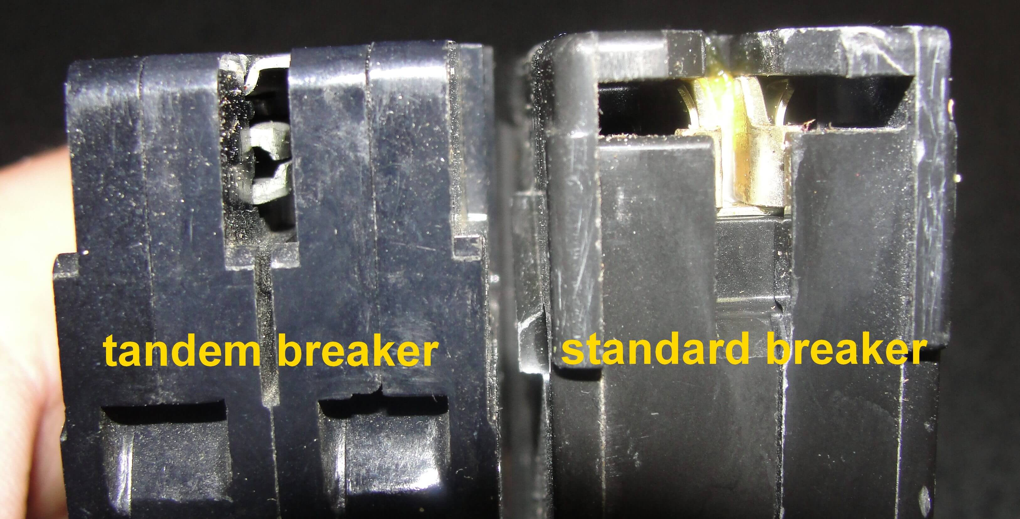 Electrical Arc Fault Safety Advice For Homeowners Home Inspectors Inspecting Tandem Circuit Breakers Aka Cheaters