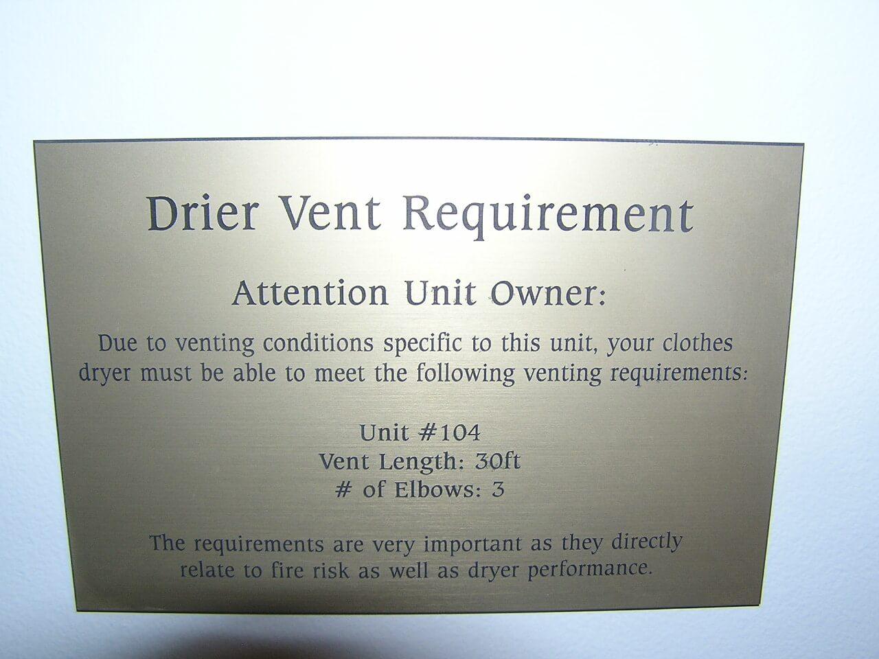 Dryer Vent Placard